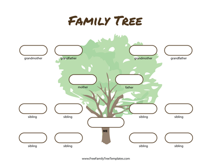 Free family tree templates printable pdf doc family for Family tree templates with siblings