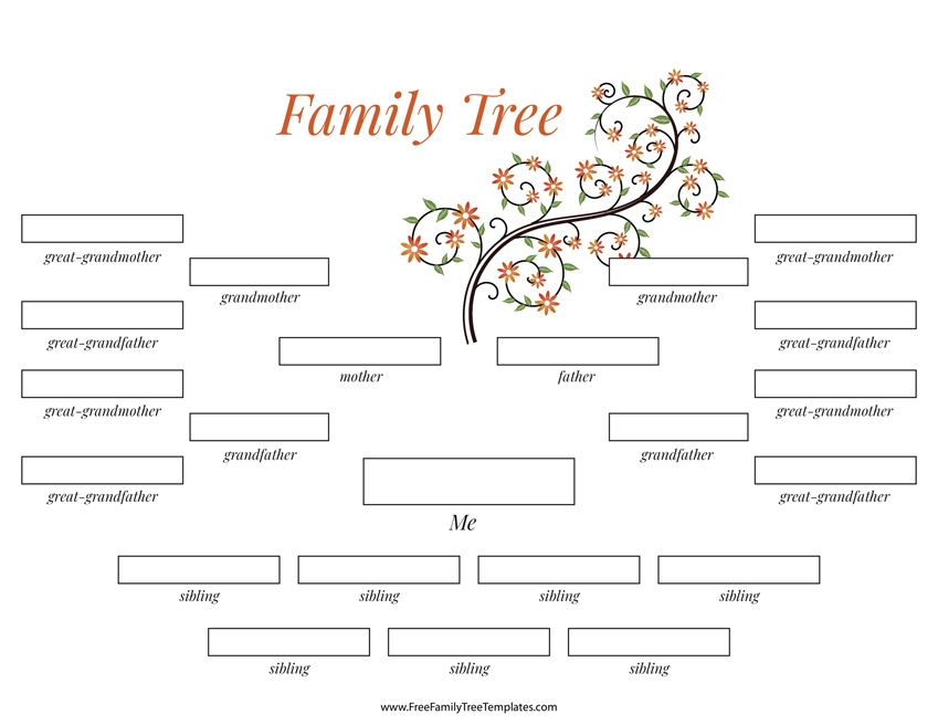 4 generation family tree many siblings template free for Family tree templates with siblings