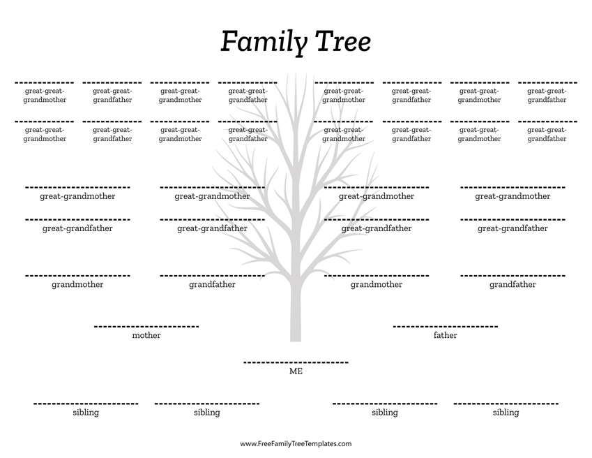 family tree templates with siblings - 5 generation family tree siblings template free family