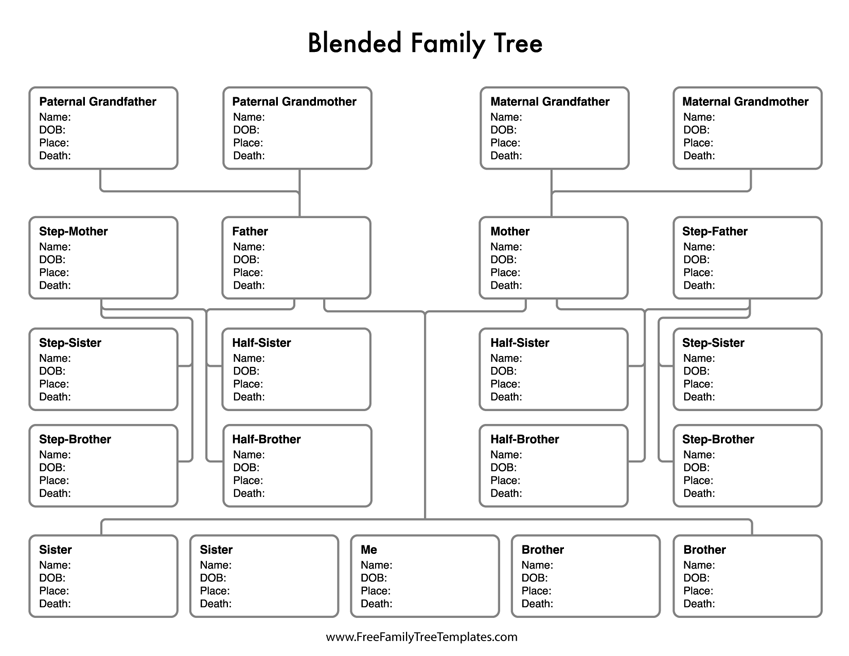 Blended Family Tree Template Free Family Tree Templates