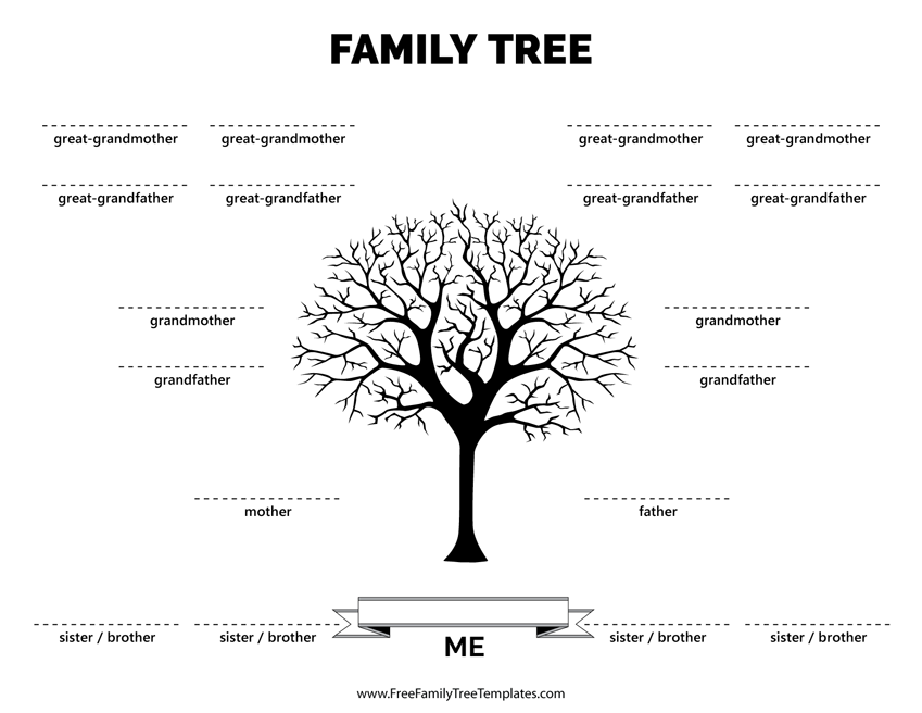Family tree with 4 siblings template free family tree for Family tree templates with siblings